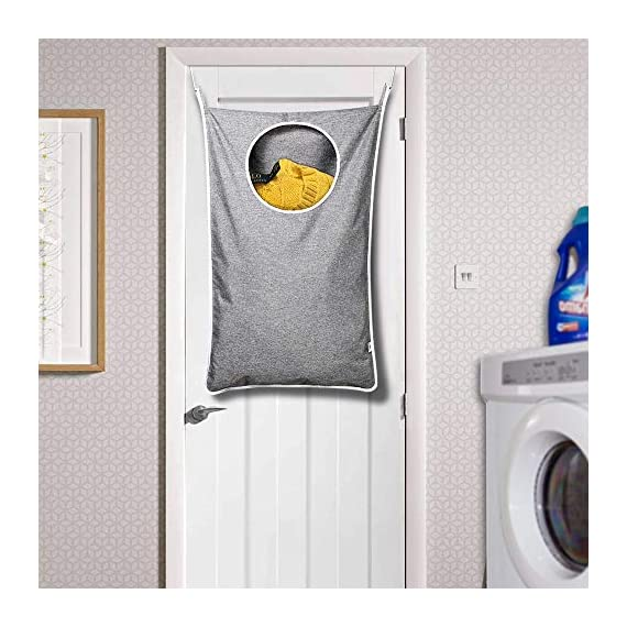 KEEPJOY Hanging Laundry Hamper Bag with Free Adjustable Stainless Steel Door 2 PCs Suction Cup Hooks, Best Choice for Holding Dirty Clothes and Saving Space, Grey - Size: 30*20*2 in - It has an extra large capacity to collect all of your families clothes. High-Quality Material - Hanging Laundry Bag is made of best Oxford fabric, durable and easy to washable. Unique Zipper Design - Back side zipper at the bottom for easier and quicker unloading. - laundry-room, hampers-baskets, entryway-laundry-room - 51dPX9KlZqL. SS570  -