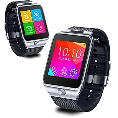 Indigi 2-in-1 Smart Watch And Phone Wireless Bluetooth Smart Watch Phone MP3 Spy Camera Sim Card Slot GSM Unlocked (Silver)