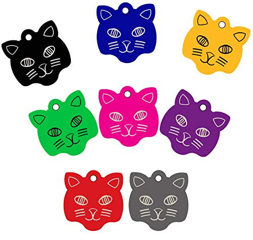 CNATTAGS Pet ID Tags Cat Face Shape, 8 Colors, Personalized Premium Aluminum (Gold Color)