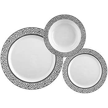 TTG 75-Piece Plastic Dinnerware Set | Lace Collection | (25) Dinner Plates (25) Salad Plates u0026 (25) Bowls| Heavy Duty Premium Plastic Plates for Wedding ...  sc 1 st  Amazon.com & Amazon.com: TTG 50-Piece Plastic Dinnerware Set | Lace Collection ...