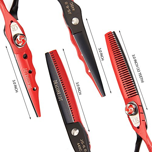 Professional Haircut Scissors Barber Hair Shears 6 Inch Stainless Steel Razor Edge Thinning Set and Fine Adjustment Screw Fit Hairdresser Family Shears by Dragon (Image #4)
