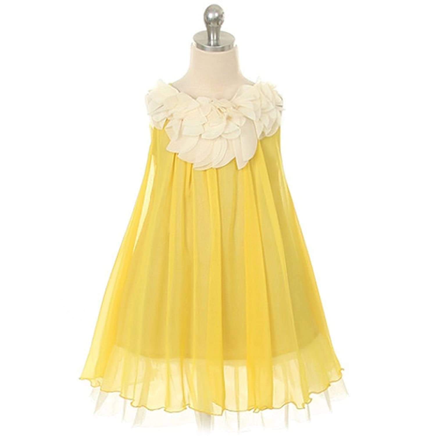 Amazon Kids Dream Yellow Chiffon Floral Lace Bodice Easter