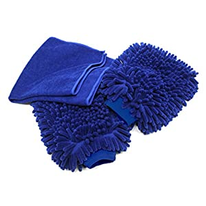 Premium Car Wash Mitt - 2-Pack - Free Polishing Cloth, High Density, Ultra-soft Microfiber Wash Glove, Lint Free, Scratch Free - Use Wet or Dry,