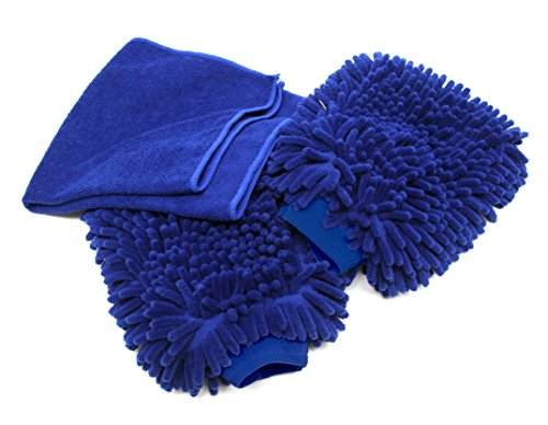 Premium Car Wash Mitt - 2-Pack - Free Polishing Cloth, High Density, Ultra-soft Microfiber Wash Glove, Lint Free, Scratch Free - Use Wet or Dry, ()