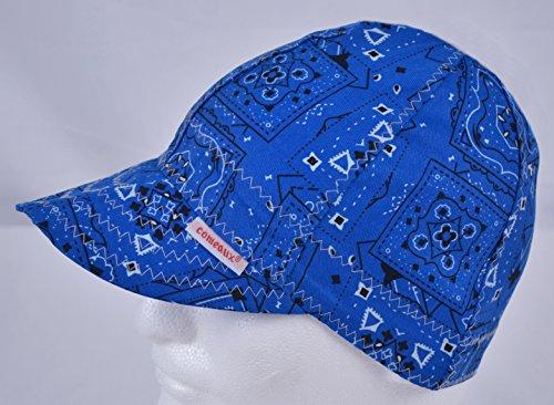 Comeaux Caps Reversible Welding Cap Blue Bandana Size 7 5/8