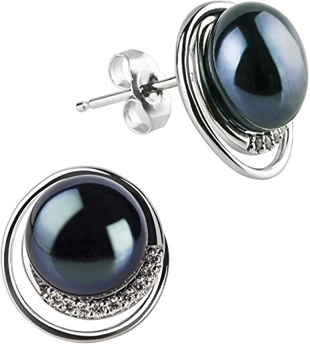 PearlsOnly - Kelly Black 9-10mm AA Quality Freshwater 925 Sterling Silver Cultured Pearl Set by PearlsOnly (Image #1)