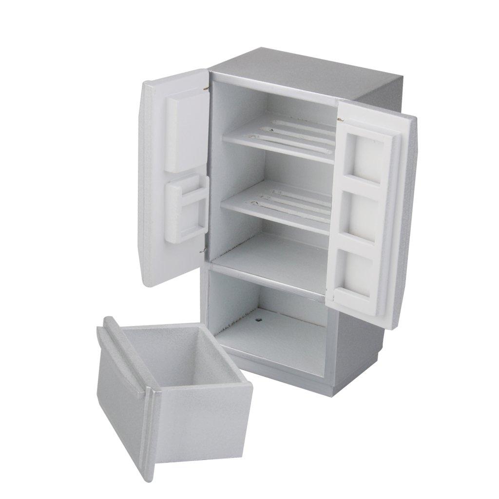 Amazon.es: 1/12 Dollhouse Miniatura Nevera Color Plata Mueble para ...