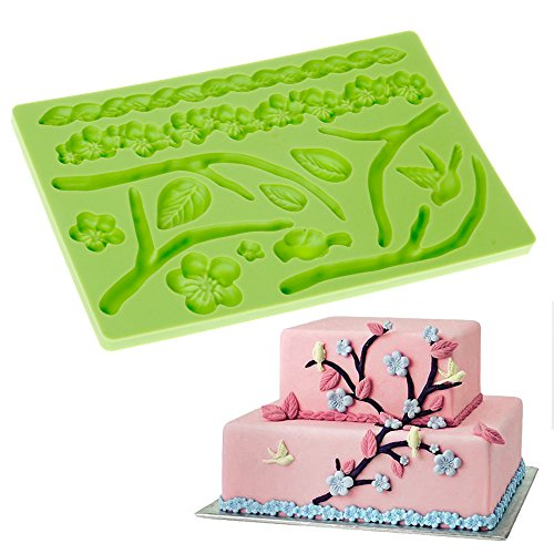 Fondant Cake Decoration Mat with Flower Leaf Branch Pattern size 7.8