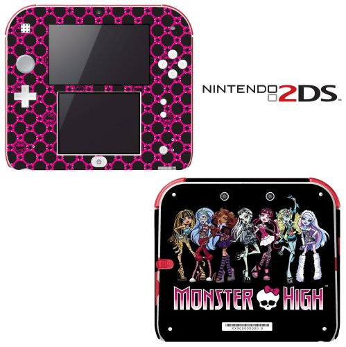 Monster High Ghoul Hot Pink Skull Decorative Video Game Decal Cover Skin Protector for Nintendo 2Ds by Decals Plus