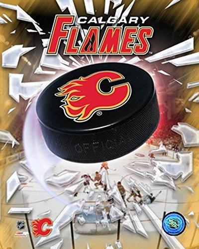 Calgary Flames 2005 - Logo/Puck Art Print, 8 x 10 inches Calgary Flames Team Logo Poster