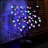 cherry blossom desk table lamp led fairy lights top tree light branches perfect for home festival party wedding christmas indoor decoration artificial 17.7inch warm white colorful decorations