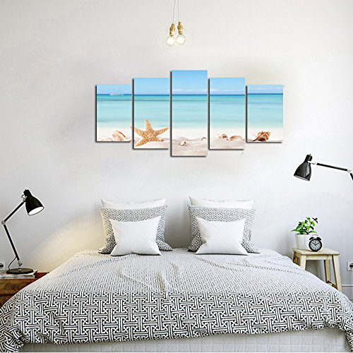 Ardemy Canvas Wall Art Coastal Large Size 5 Pieces Ocean Tropical Beach Painting, Seashore Modern Seashell Picture Prints Framed Ready to Hang for Living Room Bedroom Bathroom Home Office Decor