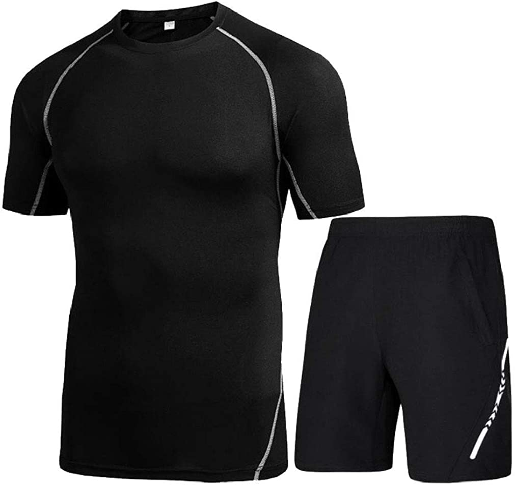 Andopa Men Quick Dryt Bodysuit Short Pants Summer Activewear Set Top/&Pants