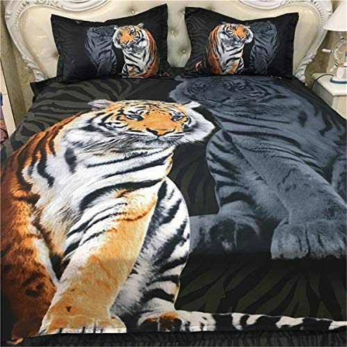 (Guidear 3D Printed Yellow Tiger Bedding Set for Boys Kids, 3 Pieces White Tiger Duvet Cover with 2 Pillowcases,Lightweight Microfiber Black Comforter Cover with Zipper Closure Queen Size 90