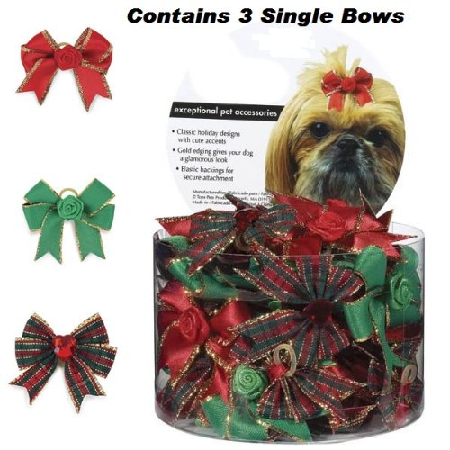 Aria Holiday Glam Dog Bows Canister, 48-Pack, Colors Vary by Aria