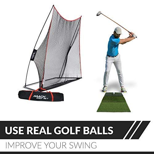 Rukket 3pc Golf Bundle | 10x7ft Haack Golf Net | Tri Turf Hitting Mat | Carry Bag | Practice Driving Indoor and Outdoor | Golfing at Home Swing Training Aids | by SEC Coach Chris Haack by Rukket Sports (Image #1)