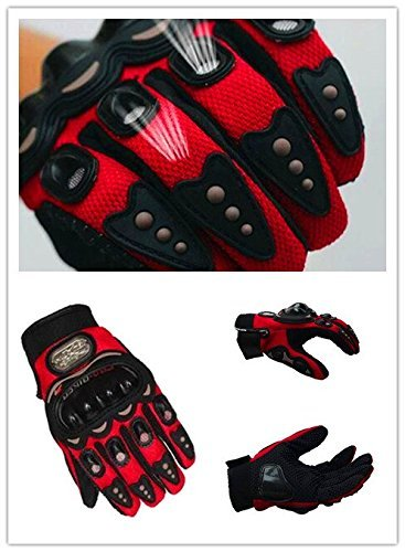 Pro-Biker Bicycle Short Sports Leather Motorcycle Powersports Racing Gloves (Red, L)