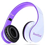 BestGot Headphones Over Ear with microphone for kids adult In-line Volume with Transport Waterproof Bag Foldable Headphone with 3.5mm plug removable cord (White/Purple)