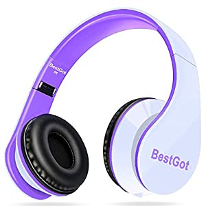 BestGot Kids Headphones Over Ear with Microphone for Girls Adult in-line Volume with Transport Bag Foldable Headphone with 3.5mm Plug Removable Cord (White/Purple)