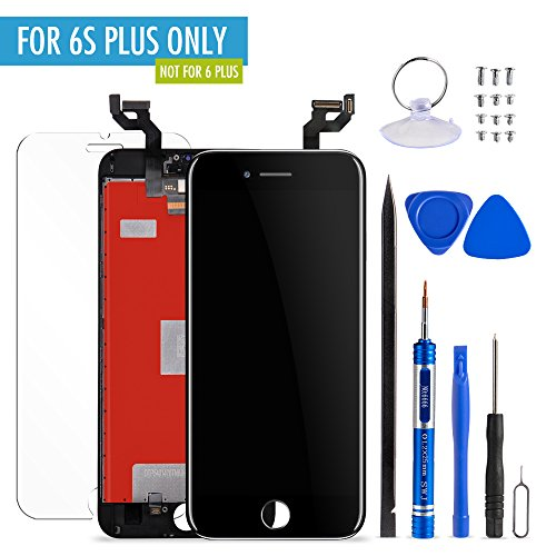 Mobiizoo LCD Screen Replacement Kit with Tools for iPhone 6S Plus Black Repair, 5.5 Inch 3D Polarized Touch Clear Screen Digitizer Frame Replacement with Free Assembly Set Tools for Easy - Polarized Sunglasses Screens And Lcd