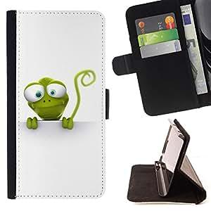- ANIMAL CARTOON REPTILE ART NATURE GREEN LIZZARD - - Prima caja de la PU billetera de cuero con ranuras para tarjetas, efectivo desmontable correa para l Funny HouseFOR Apple Iphone 6