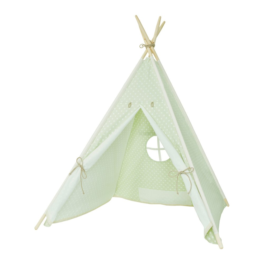 my-teepee Play Tent MT01gn, Made in Germany, natural materials, wooden sticks from Aspe, cover 100% cotton, Oekotex 100, height 4.9 ft. (150 cm), lockable window, colour: green with white points