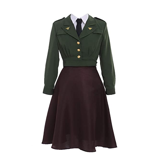 1940s Costumes- WW2, Nurse, Pinup, Rosie the Riveter Fortunehouse Womens Officer Uniform Agent Peggy Carter Dress Cosplay Costume Uniform Suit $110.99 AT vintagedancer.com