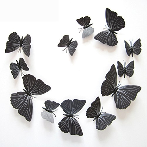12Pcs Art Decal Home Decor Room Wall Stickers 3D Butterfly Stickers Decorations - 9