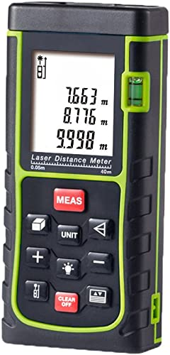 Laser Distance Meter,Handheld Range Finder Meter,Portable Measuring Device,Area Volume Distance Pythagoras Calculation,Measurement Memory Recall,Tape Measure 0.05 to 40m 0.16 to 131ft
