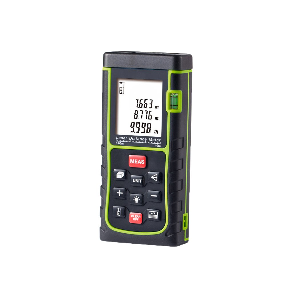 Laser Distance Meter,Handheld Range Finder Meter,Portable Measuring Device,Area/Volume/Distance/Pythagoras Calculation,Measurement Memory Recall,Tape Measure 0.05 to 40m(0.16 to 131ft)