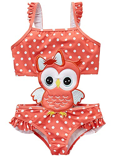 Coralup Girls Swimsuits Cute Owl Swimwear Ruffle Bathing Suit for Kids 18-24M