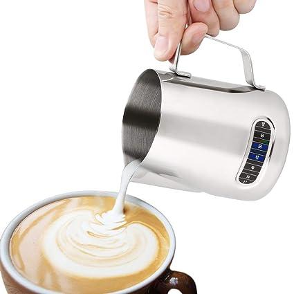 FlowersSea Jarra de Leche de Acero Inoxidable Espresso de Temperatura Espumador leche 600ml Perfecto para Máquina
