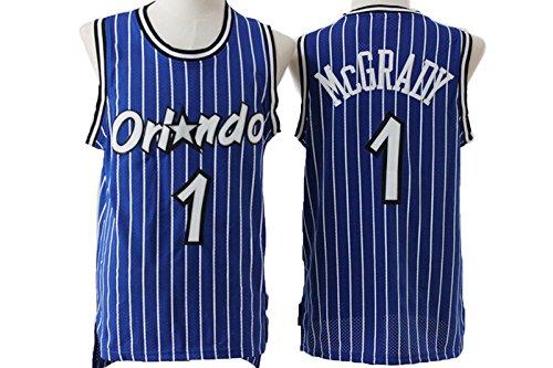 Mens Orlando Magic Tracy McGrady #1 Stripe Jersey Blue L