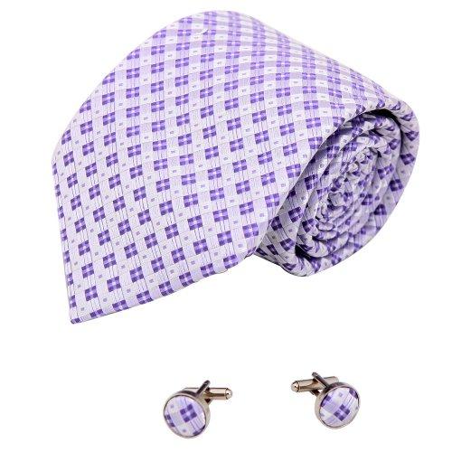 A2110 Medium Purple Checkered Gift Certificate Gift Idea One Size Silk Ties Cufflinks Set 2PT By Y&G