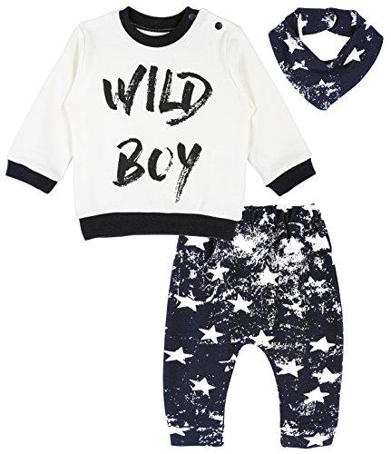 Infant Boys Long Sleeved (Lilax Baby Boy Long Sleeve Wild Boy Print Top, Star Pants and Bandana 3 Piece Set 6M)
