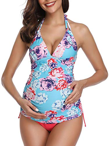 Women Halter Maternity Tankini Swimsuit Floral Pregnancy Plus Size Swimwear Blue