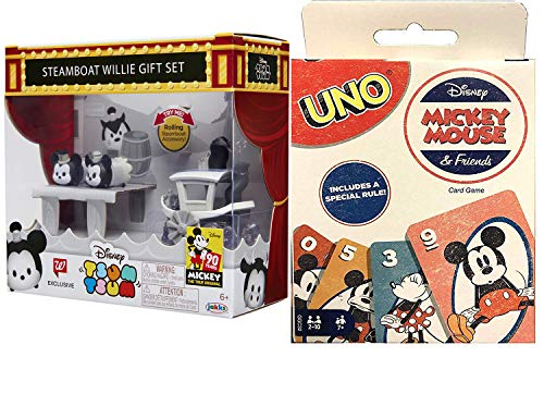 Willie Mickey True Original Card Game Disney Matching Uno Friends Tin Box & Disney Mini Figure Toy Steamboat Tsum Exclusive Scene 2 Item Bundle