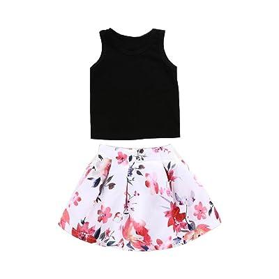 a338dcc96e8d G-real Little Girls Kids Cute 2pcs Black Vest T-Shirt Tops+Floral Tutu Skirt  Summer Outfits for 1-5T