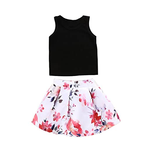 2f043e8efe8cd G-real Little Girls Kids Cute 2pcs Black Vest T-Shirt Tops+Floral Tutu  Skirt Summer Outfits for 1-5T