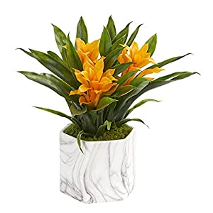 Nearly Natural 8139-YL Bromeliad Artificial Marble Finished Vase Silk Plants, Yellow 9