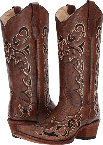 Corral Women's Honey Side Embroidered Boot Snip Toe Honey 9 M by Corral Boot