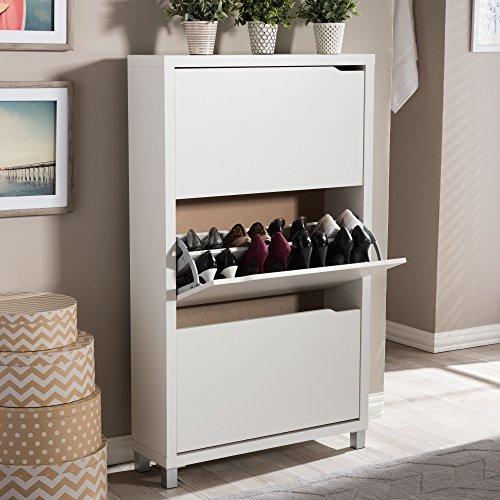 Yolan Triple Drawer Organizer Shoe White Cabinet (Triple Shoe Cabinet)