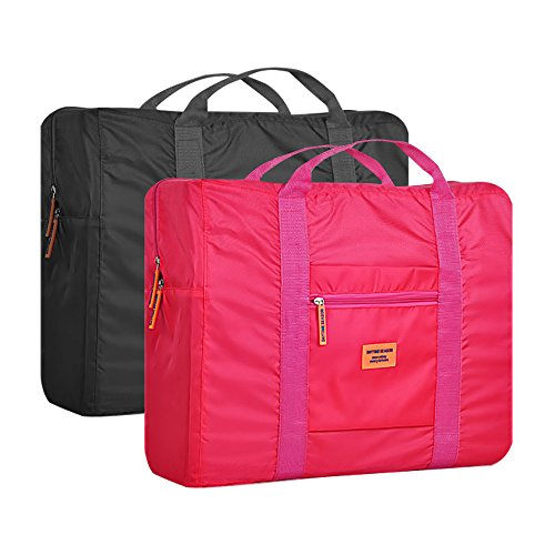 Foldable Tote Bag Carry on Luggage Bag 20'' Lightweight Waterproof Bag For Travel Shopping (Pack of 2) (Black+Red)