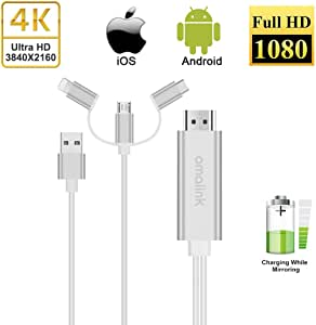 AMALINK 3 in 1 HDMI Cable, USB C Type C/Micro USB to HDMI Adapter Cable, Digital HD 1080P HDMI Cable,Mirror Mobile Phone to TV Projector Monitor Compatible with Android 5.0 and IO'S8 and Above