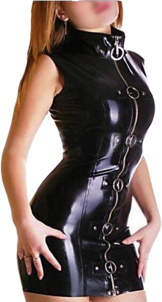 Sexy Mujer 100% látex negro moda elegante falda con cremallera ...