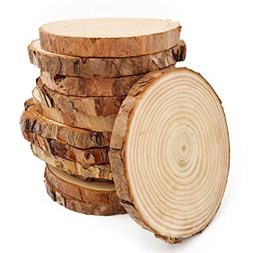 Unfinished Natural Wood Slices 12 Pcs 3.5-4 inch Craft Wood kit Circles Crafts Christmas Ornaments DIY Crafts with Bark for Crafts by William Craft ()