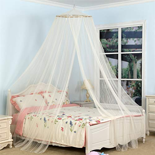 South To East King Size Bed Canopy, Ivory Color Mosquito Net for Indoor/Outdoor, Camping or Bedroom Fit A King Size Bed, Made by Fire Retardant ()
