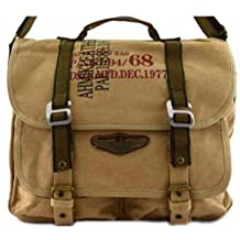 Canvas Military Bags Vintage Style Army Cross Shoulder Messenger Bag Classic Distressed Canvas in Khaki Tan Travell Well Bags