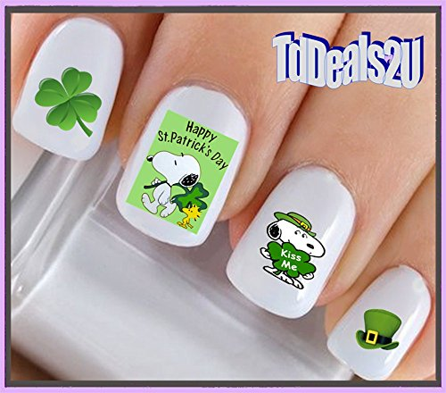 Holiday St. Patricks Day - Happy St Patricks Day Leprechan Dog #2 Kiss Me Snoopy Green Clover WaterSlide Nail Art Decals - Highest Quality! Made in USA ()