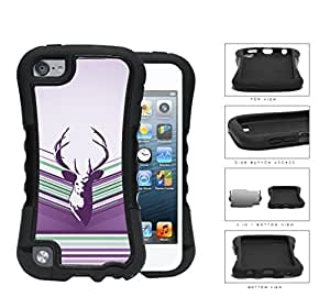 Purple Deer Buck Head Vector with Purple Lilac & Green Stripes iPod Touch 5 (2-piece) Dual Layer High Impact Cell Phone Case